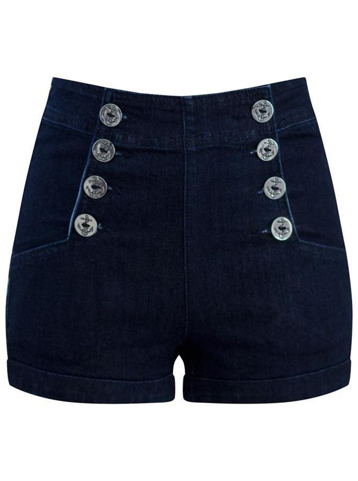 Women's Sailor Girl High Waist Dark Denim Shorts by Double Trouble Apparel