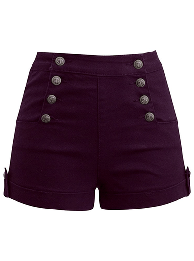 "Women's ""Sailor Girl"" Denim Shorts w/ Anchor Buttons by Double Trouble Apparel (Burgundy)"
