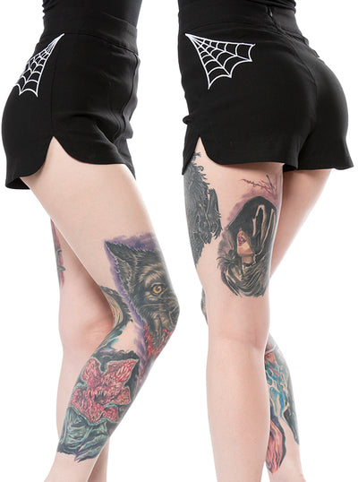 Women's Spider Web Sweetie Pie Shorts by Sourpuss