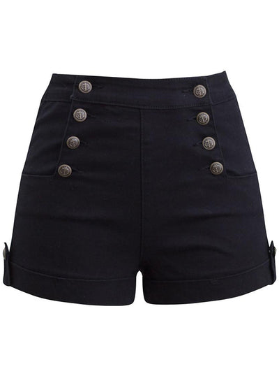 Women's Sailor Girl Denim Shorts by Double Trouble Apparel Black)