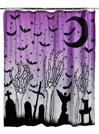 Skeleton Graveyard Shower Curtain by Too Fast