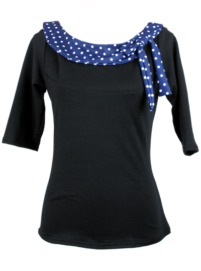"Women's ""Side Bow Polkadot"" Top by Pinky Pinups (Blue/White) - www.inkedshop.com"