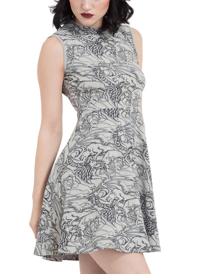 "Women's ""Clash of the Sigils"" Skater Dress by Jawbreaker (Grey)"