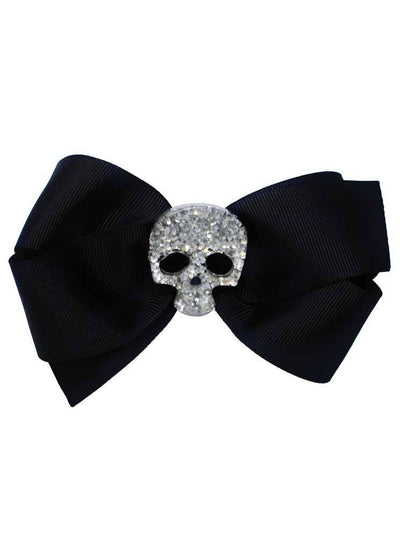 """Skull"" Glitter Bow by Bowdacious Bows (Black)"