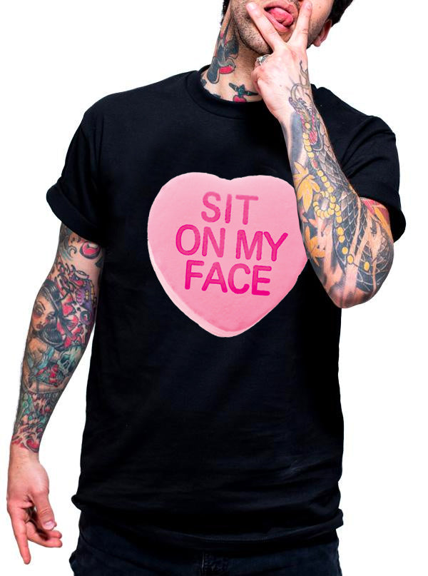"Men's ""Sit On My Face"" Tee by Dirty Shirty (Black)"