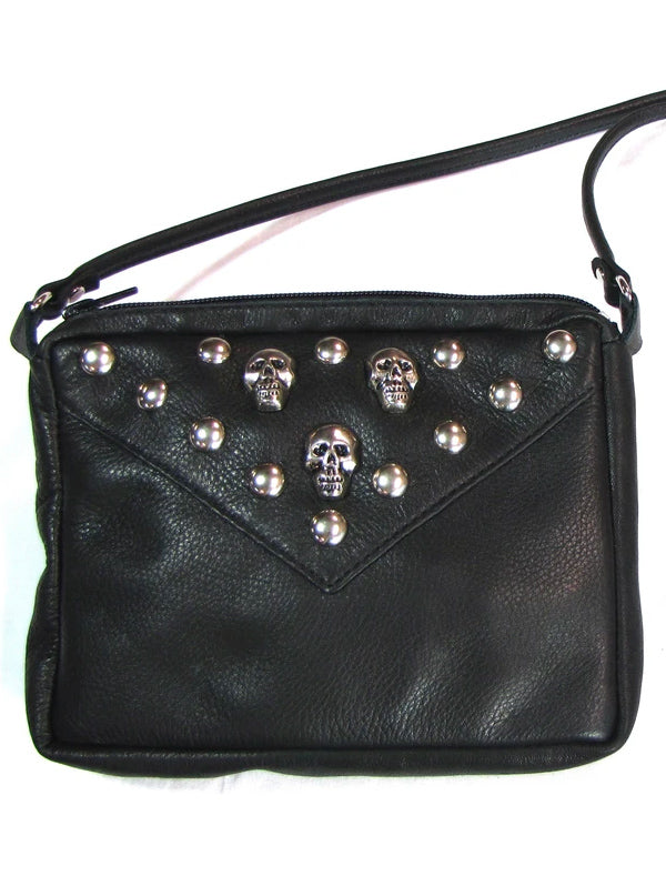 Soft Studded Crossbody Bag with Skulls
