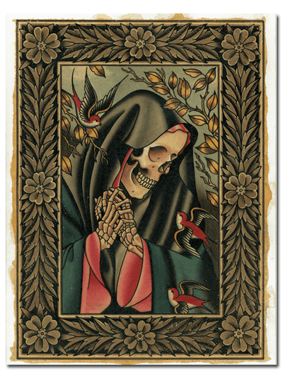 """Skeletons And Swallows"" Watercolor Print by Cory Lenherr for Mindzai Creative - www.inkedshop.com"