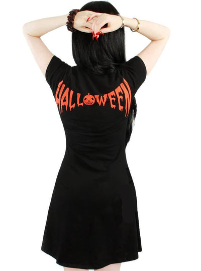"Women's ""Skeleton Halloween"" Flare Dress by Kreepsville 666 (Black/Orange) - www.inkedshop.com"