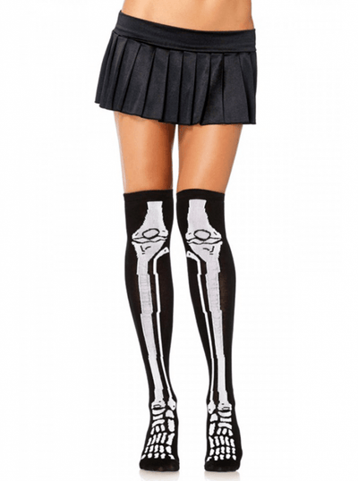 "Women's ""Skeleton"" Over The Knee Socks by Leg Avenue (Black/White) - www.inkedshop.com"