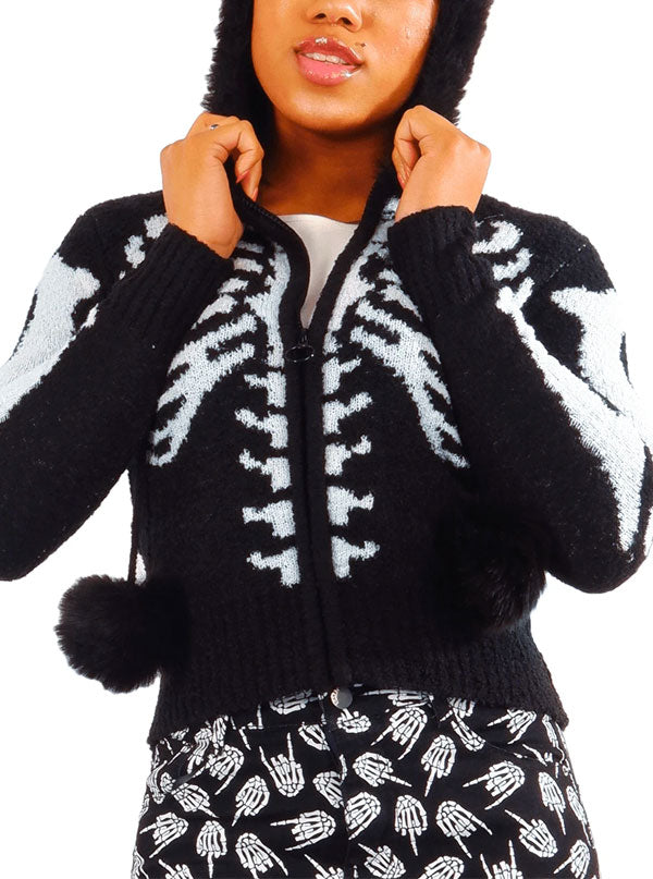 Women's Skeleton Ribcage Hooded Sweater by Too Fast