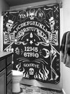 """Skeleton Ouija Board"" Shower Curtain by Too Fast (Black)"