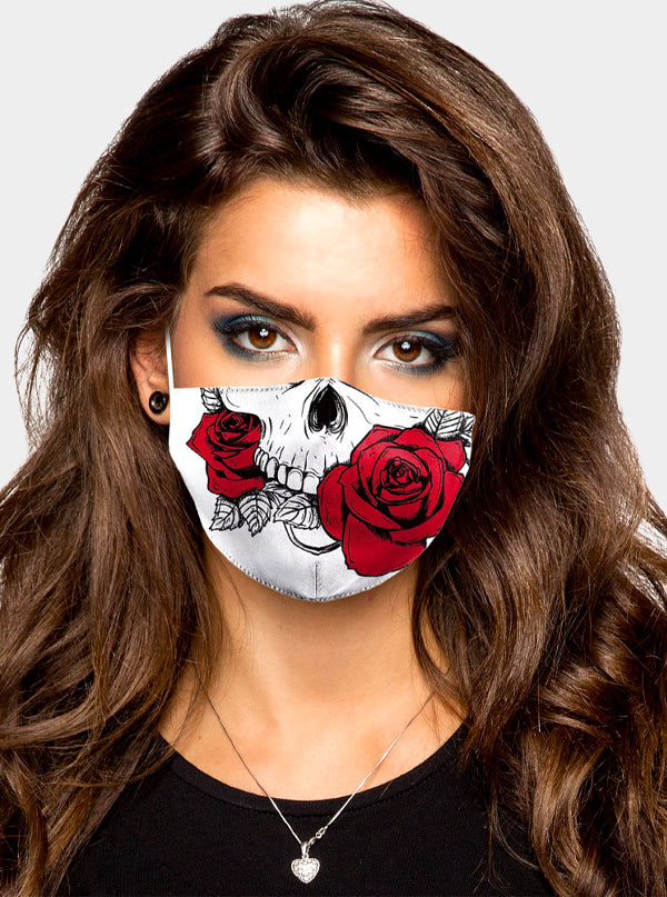 Skull Rose Print Face Mask