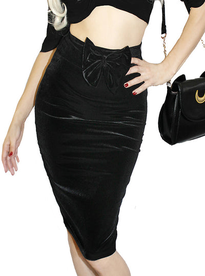 Women's Hourglass Velvet Pencil Skirt by Demi Loon