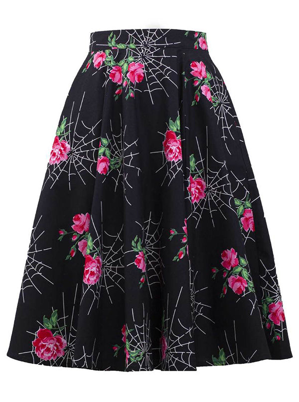 "Women's ""Kiss of the Spider"" Swing Skirt by Double Trouble Apparel (Black)"
