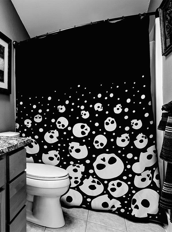 Bubble Skulls Shower Curtain by Too Fast