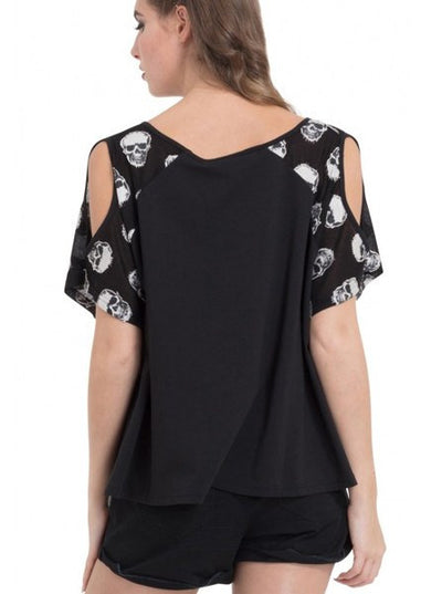 "Women's ""Skull Sleeve"" Top by Jawbreaker (Black)"