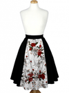 "Women's ""Skulls and Roses"" Full Circle Skirt by Hemet (Black) - www.inkedshop.com"
