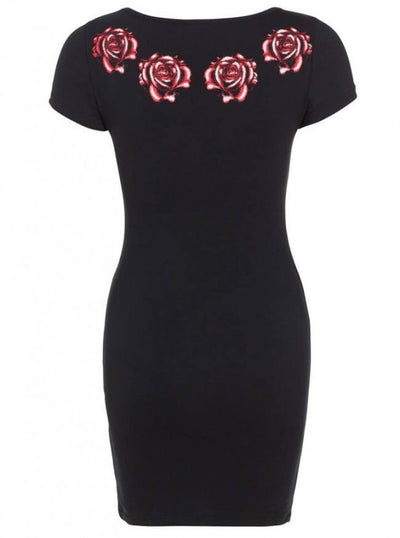 "Women's ""Skull And Roses"" T Dress by Jawbreaker (Black) - www.inkedshop.com"