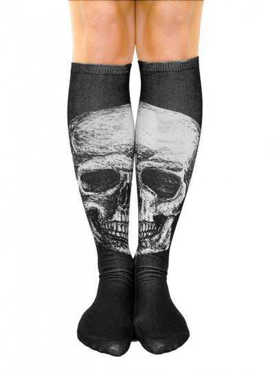Skull Knee High Socks by Inked (Black) - www.inkedshop.com