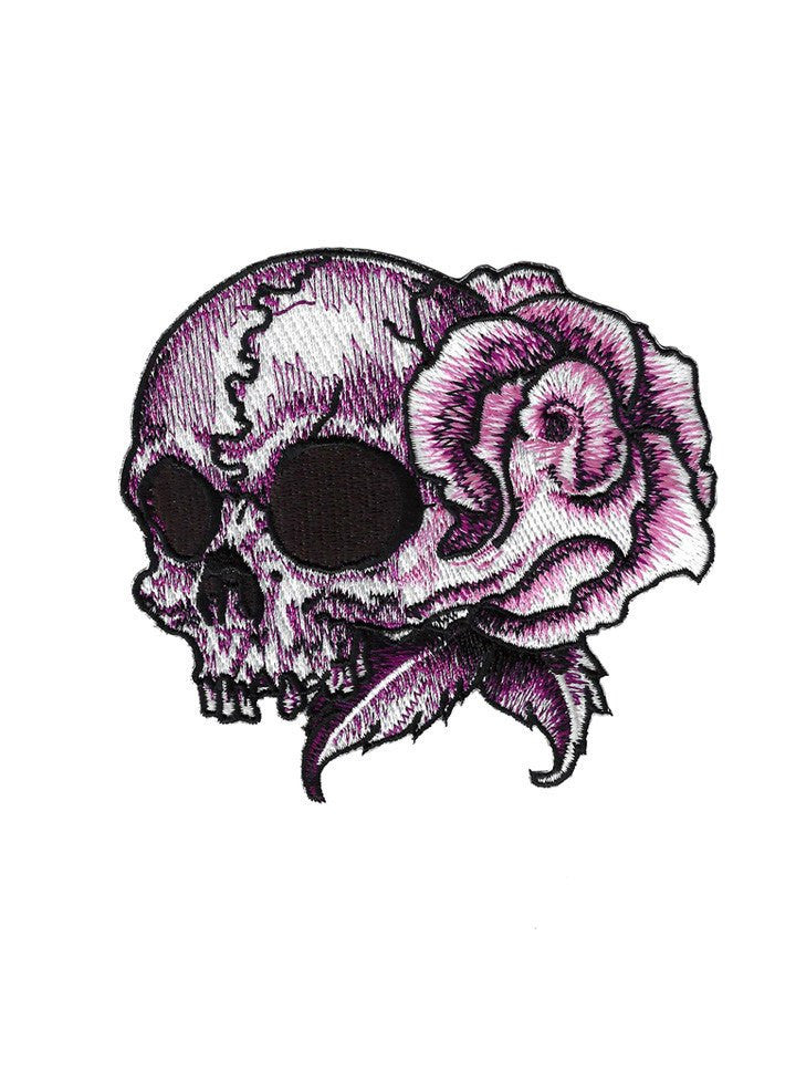 """Floral Skull Left"" Embroidered Patch by Lethal Angel (Pink) - www.inkedshop.com"