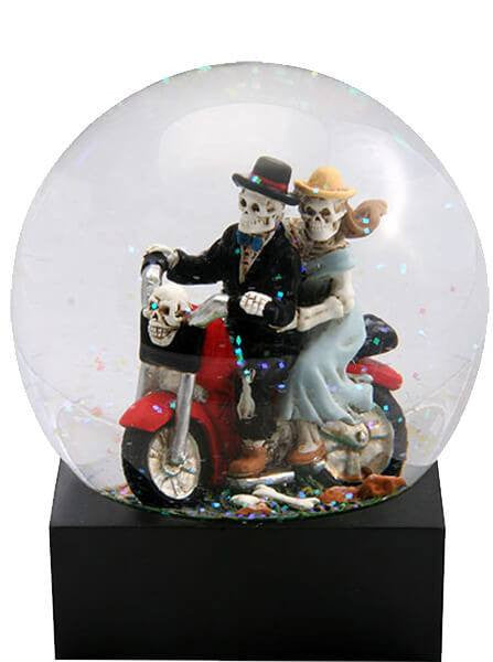"""Skull Lovers"" On Motorcycle Water Globe by Summit Collection - www.inkedshop.com"