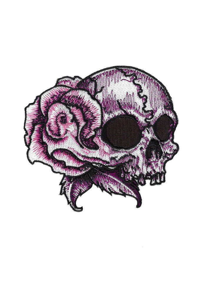 """Floral Skull Right"" Embroidered Patch by Lethal Angel (Pink) - www.inkedshop.com"