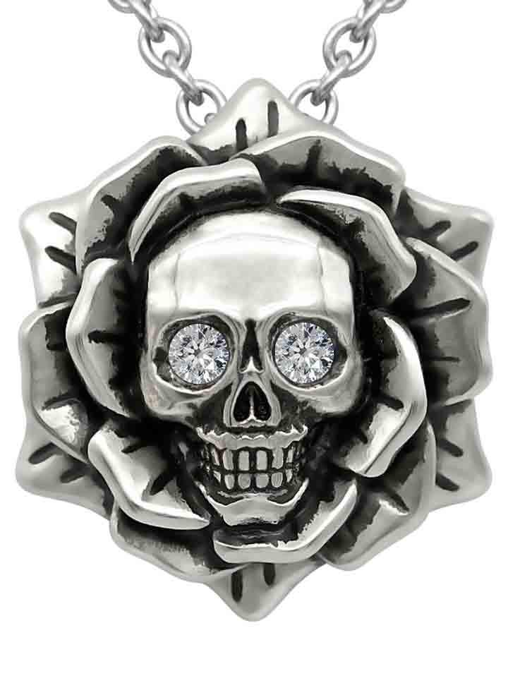 Skull Rose Necklace with Swarovski Crystal by Controse