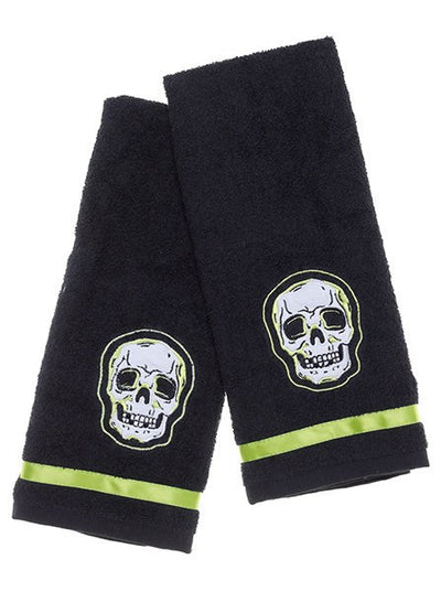 """Phantom"" Bathroom Hand Towel Set by Sourpuss (Black)"