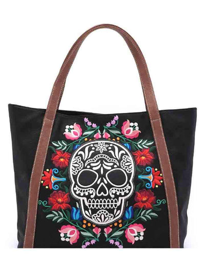 """Floral Sugar Skull"" Tote Bag by Loungefly (Black)"