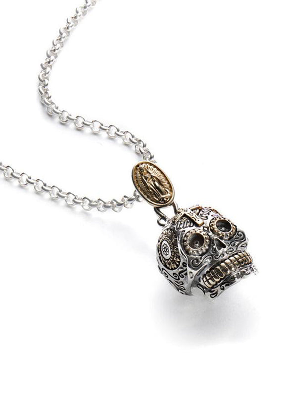 Calavera Sugar Skull Necklace by Silver Phantom Jewelry