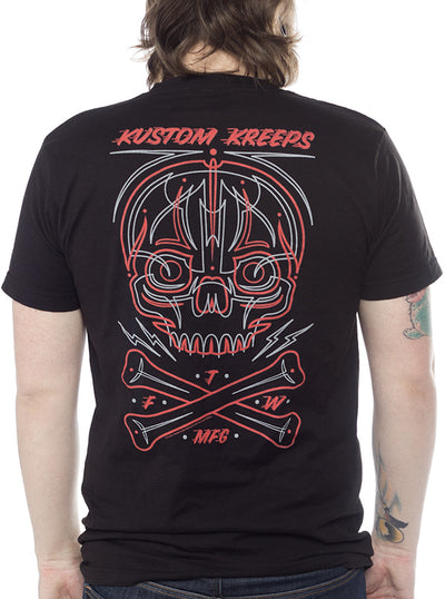 Men's Pinstriped Skull Tee by Kustom Kreeps