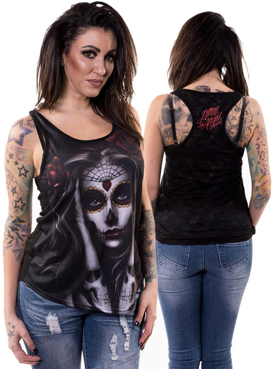 "Women's ""Skull Arm Tattoo"" Tank by Lethal Angel (Black)"