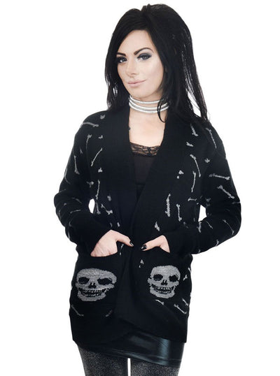 "Women's ""Glitter Bones"" Long Cardigan by Too Fast (Black)"