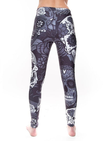 "Women's ""Sugar Skull"" Leggings (Black/White)"
