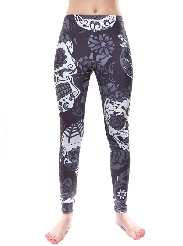 "Women's ""Sugar Skull"" Leggings (Black/Grey)"