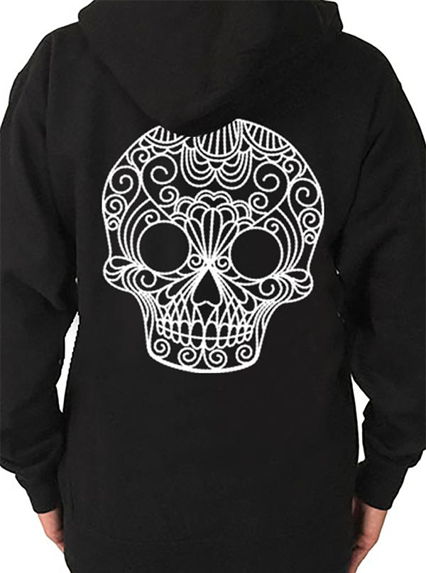 Women's Quilted Sugar Skull Hoodie by Pinky Star