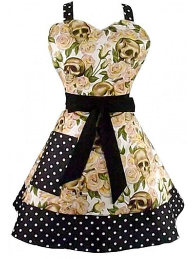 """Skulls and Roses"" Two Tier Apron by Hemet (Cream) - InkedShop - 1"