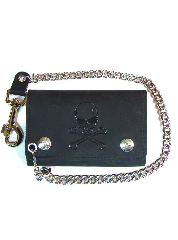 Skull & Crossbones Midsize Trifld Wallet With Chain