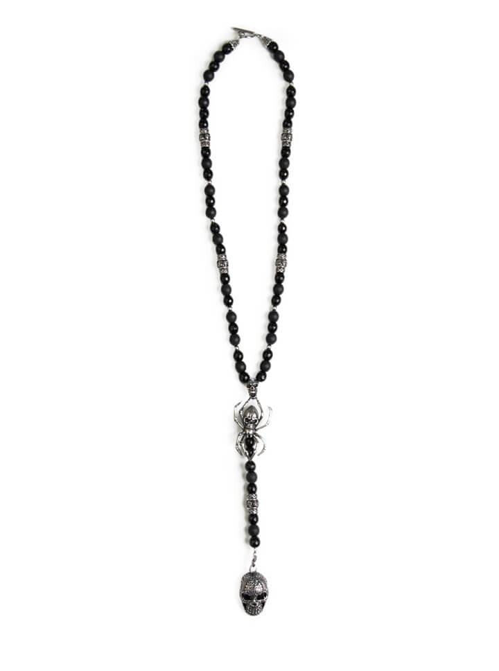 "Men's ""Black Widow"" Rosary by Wicked Steel (Black Onyx) - www.inkedshop.com"