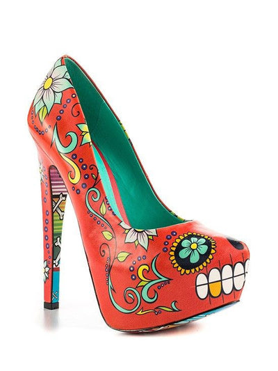 """Skully"" Heels by Taylorsays (Orange) - www.inkedshop.com"