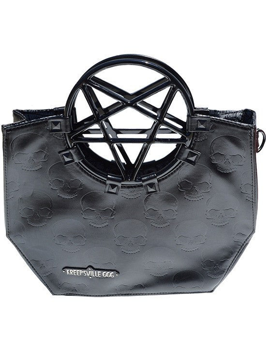 Pentagram Handle Purse Bag (Black) by Kreepsville 666 - www.inkedshop.com