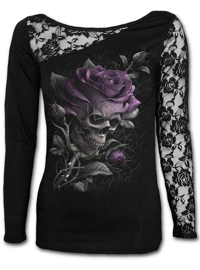 "Women's ""Skull Rose"" Lace One Shoulder Top by Spiral USA (Black)"