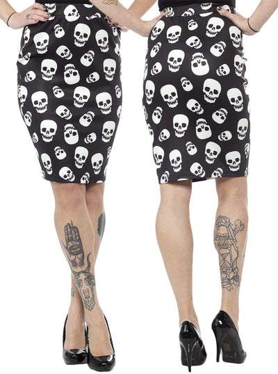 "Women's ""Lust For Skulls"" Scuba Skirt by Sourpuss (Black)"