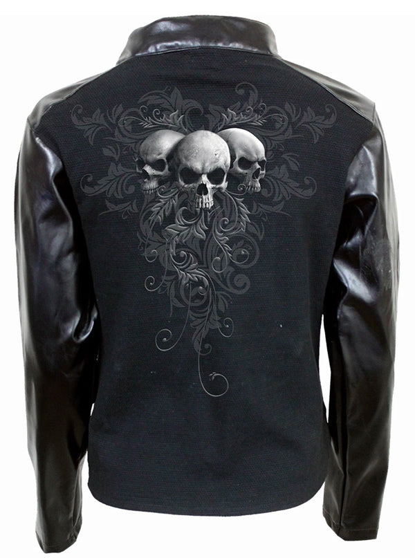 Women's Skull Scroll Biker Jacket by Spiral Usa