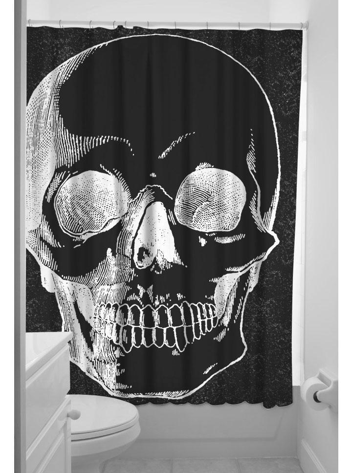 Anatomical Skull Shower Curtain By Sourpuss Black