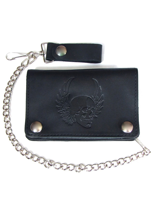 Skull With Wings Short Biker Wallet