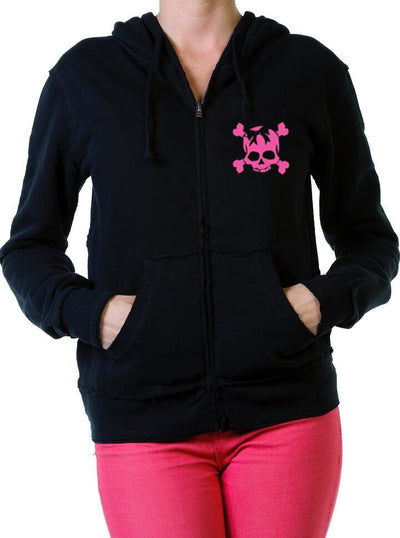"Women's ""Skully"" Zip-Up Hoodie by Beautiful Disaster (More Options) - www.inkedshop.com"