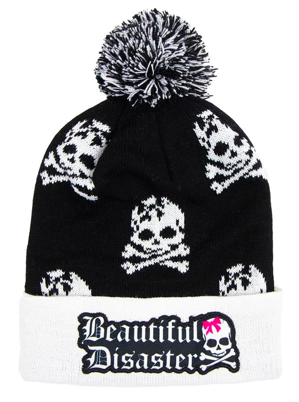 Skully Poof Beanie by Beautiful Disaster