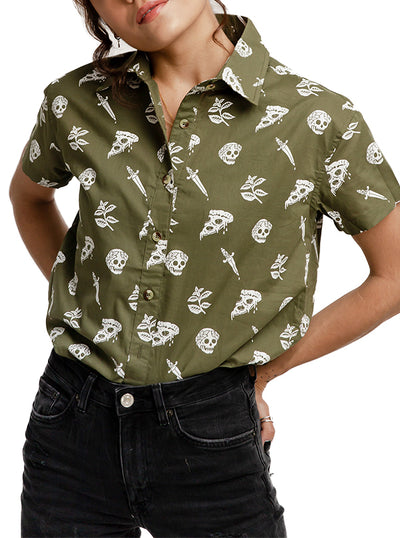 Unisex Pizza Slayer Button-Up by Pyknic