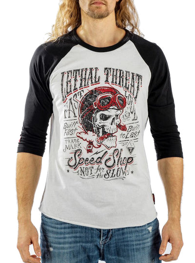 Men's Not For The Slow Raglan Tee by Lethal Threat (White/Black)